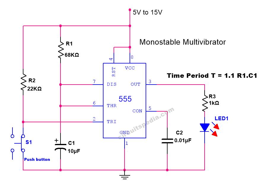555 timer monostable multivibrator operation