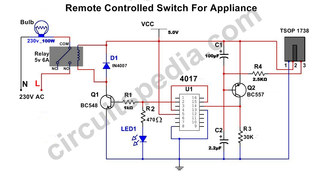 Remote Control Switch Circuit | IR Remote Control ON OFF Switch Circuitcircuitspedia