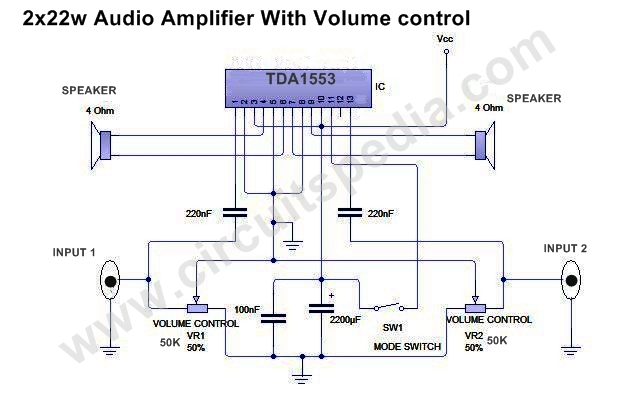 44w stereo audio amplifier circuit using tda1553