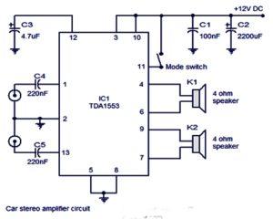 tda1553 44w stereo amplifier circuit . 2x22w