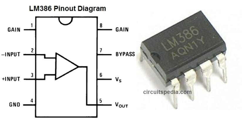 LM386 amplifier ic pin diagram