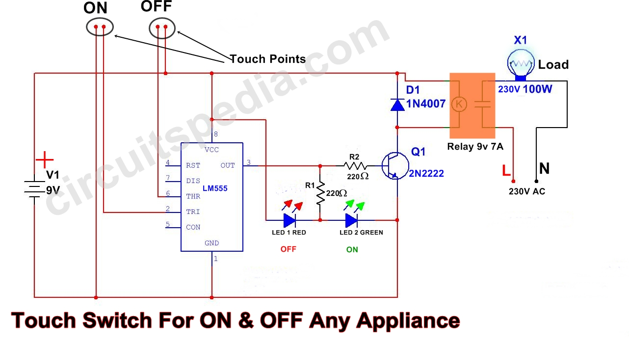 touch switch circuit diagram