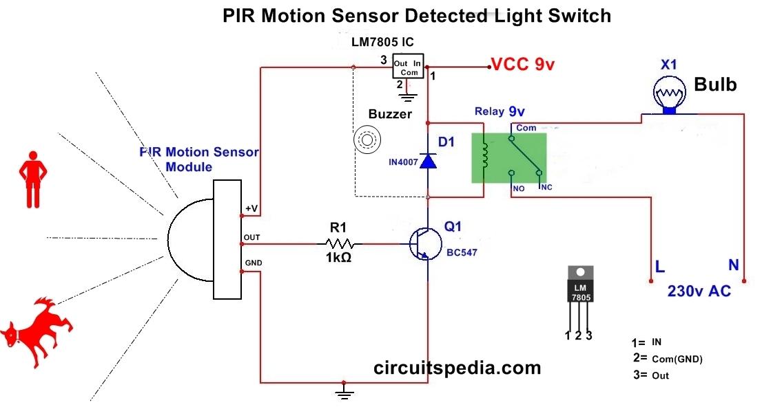 pir motion sensor circuit for human detection and lighting