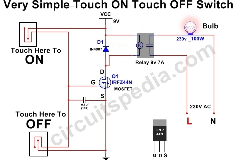 Touch Switch For ON OFF Circuit Diagram