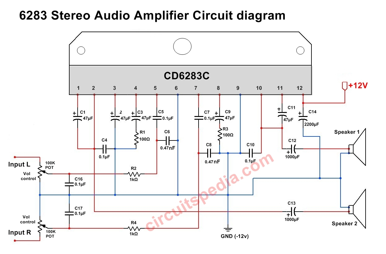 CD6283 Stereo Audio Amplifier circuit diagram