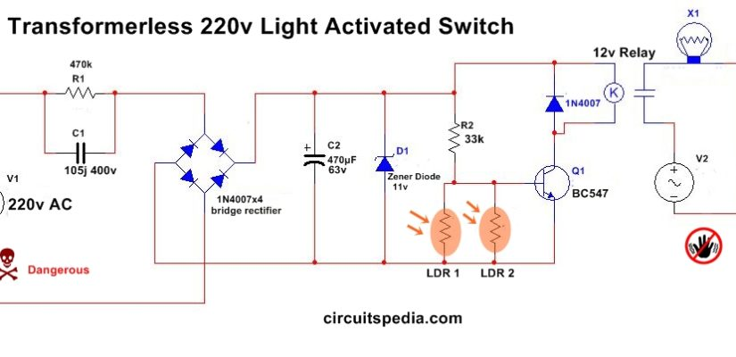 Automatic Night Light Circuit Diagram With LDR Without ...