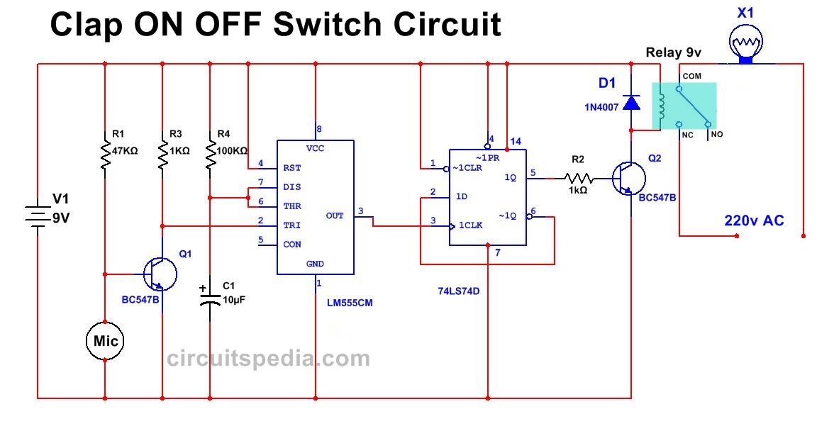 Clap Operated ON OFF Switch circuit diagram