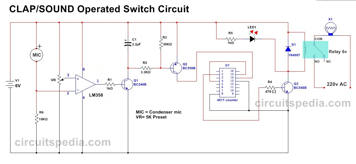 Sensitive Clap operated ON OFF Switch Circuit diagram