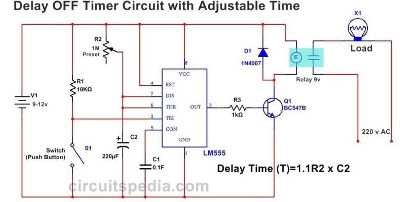 555 Delay Off Timer Circuit For Delay Before Turn Off Circuit