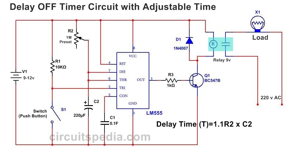Delay OFF Timer Circuit Diagram