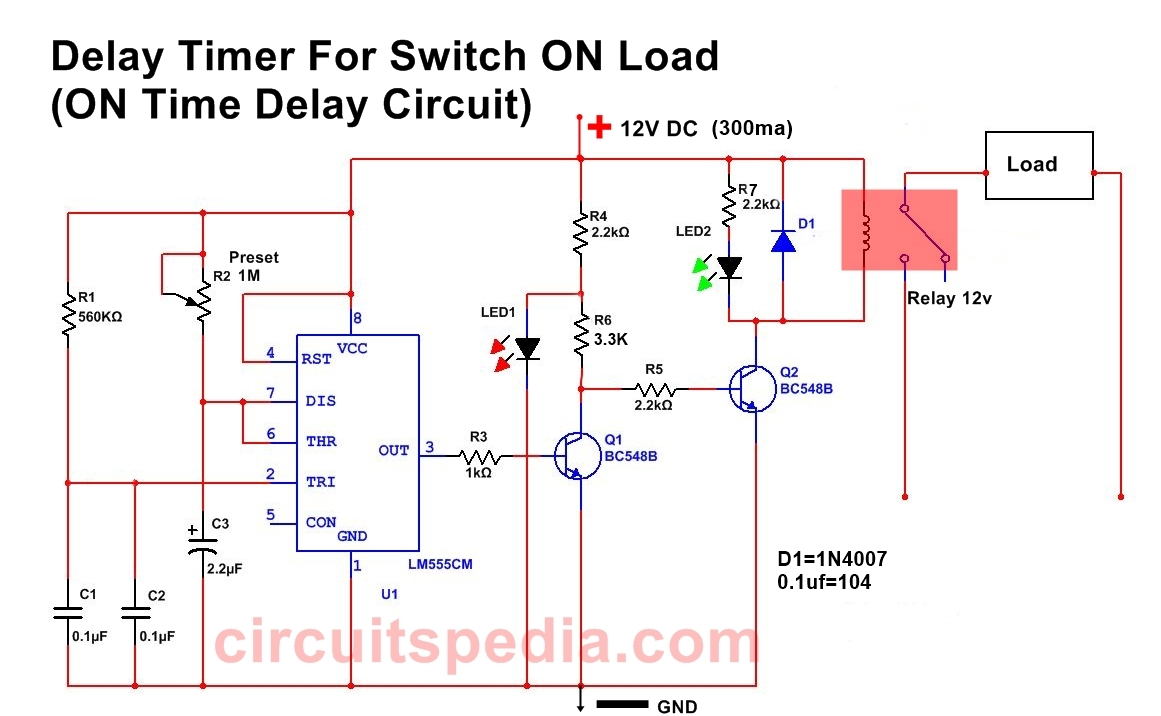 ON Delay timer circuit, Delay Timer for Switch ON, Switch on delay ...