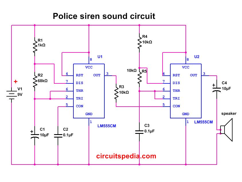 Police siren sound effect circuit