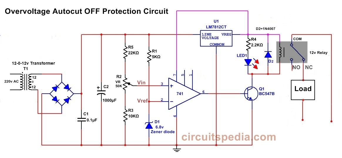 overvoltage protection cutoff circuit diagram using 741 opamp