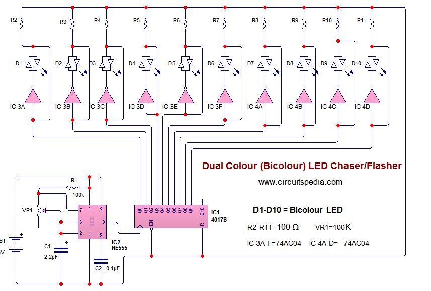 blinking led flasher circuit diagram
