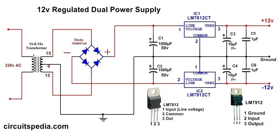 12v dc dual power supply circuit