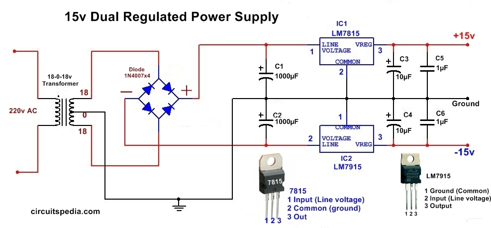 Dual power dc supply 15v