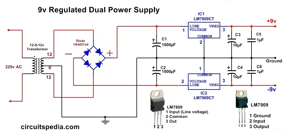 9v dc regulated dual power supply circuit diagram