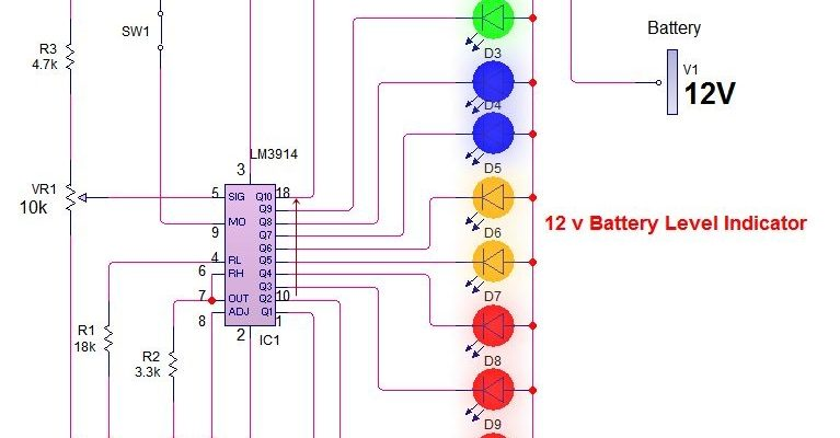 12v battery level indicator circuit with 3914 ic battery
