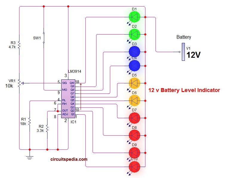 LM3914 12v battery charge voltage level indicator circuit diagram