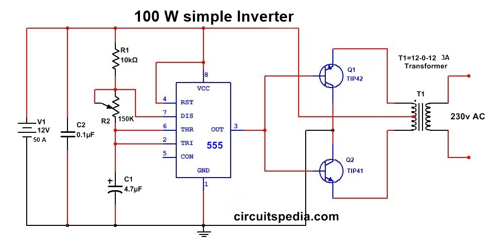 simple 100w inverter circuit using 55512v to 220v ac