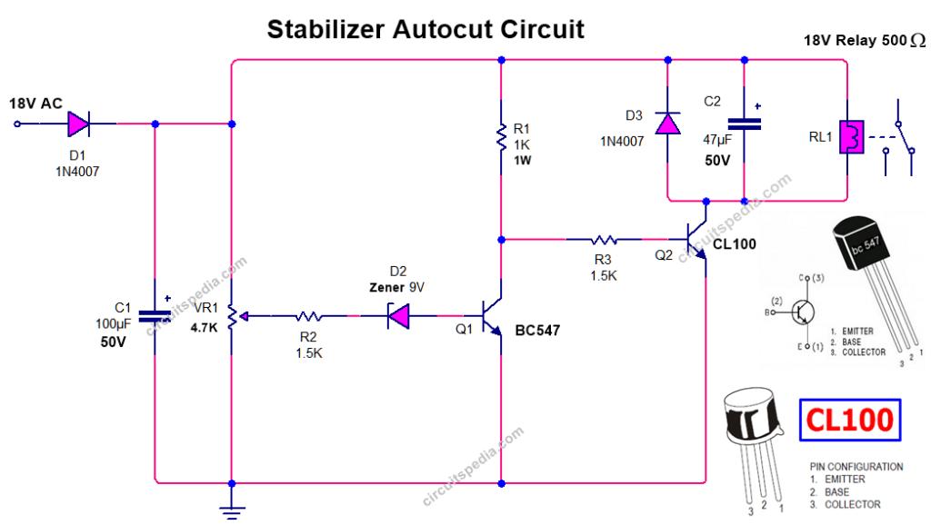 over voltage Autocut circuit for stabilizer