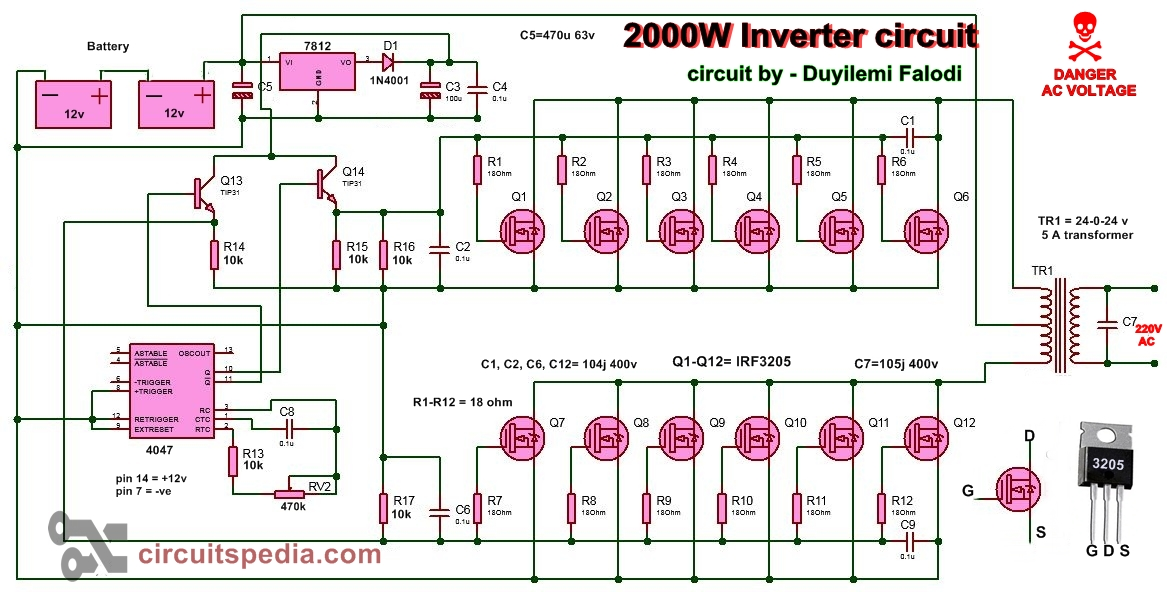 2000w Inverter Circuit Diagram  High Power Inverter Circuit