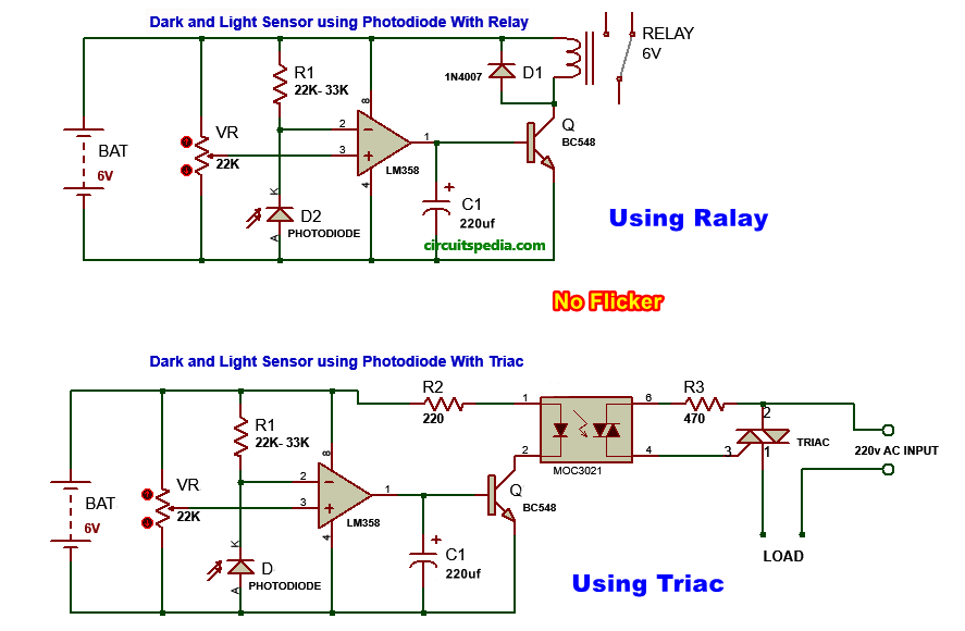 photodiode darkness circuit diagram