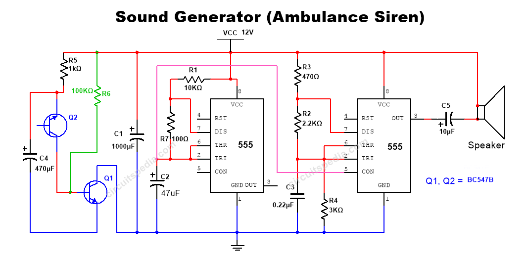 ambulance siren sound generator circuit diagram