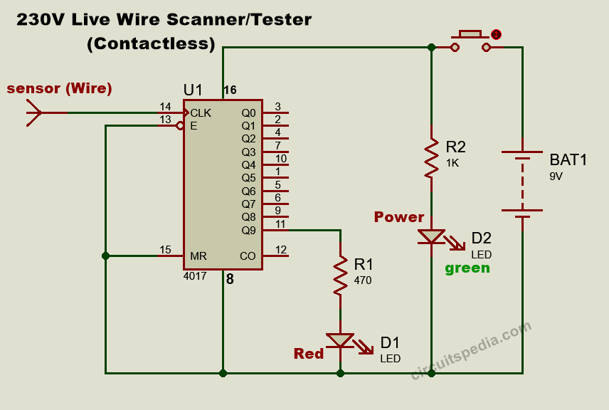 Non contact electric tester circuit