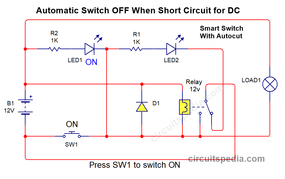 DC Relay switch circuit with short circuit protection