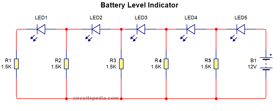 battery charge level indicator circuit diagram