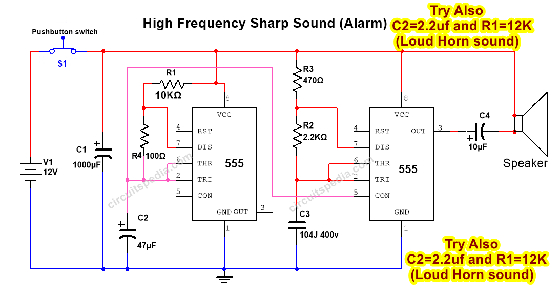 555 tone generator circuit diagram