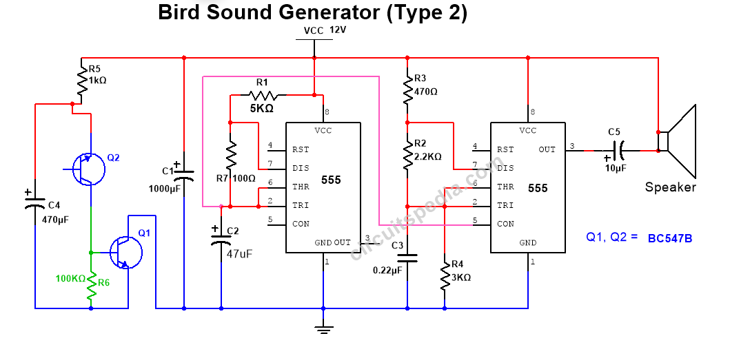 bird sound generator circuit diagram
