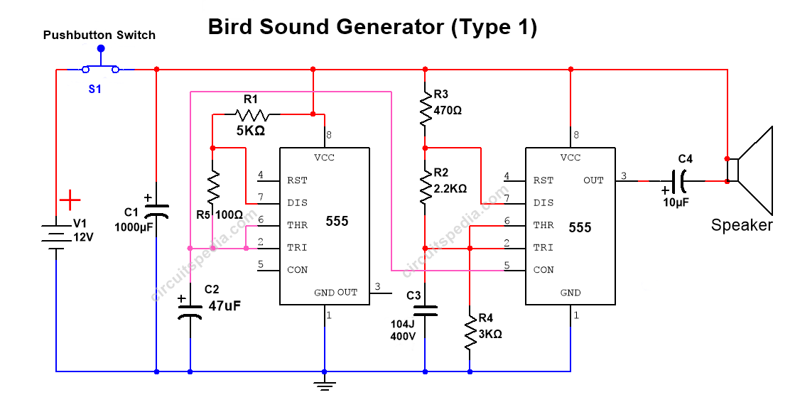 sound generator circuit using 555 timer