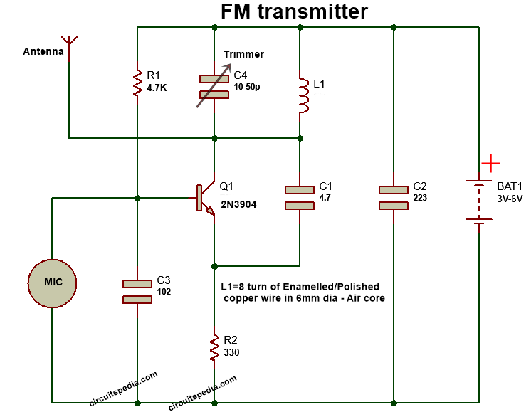 mini fm transmitter circuit diagram