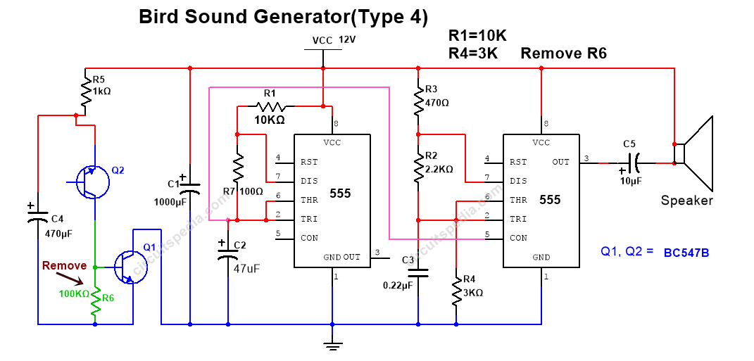 horn siren sound generator circuit diagram using 555 timer