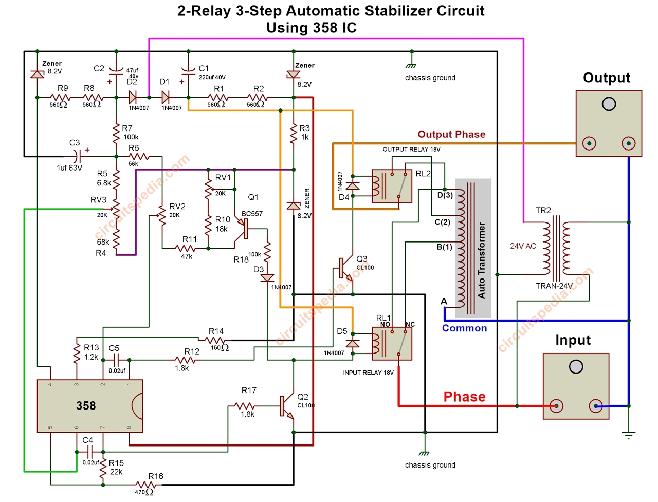 Relay Type Automatic Voltage Stabilizer Circuit Diagram  3