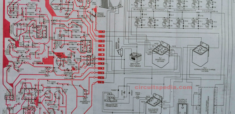 12v dc to 220v ac inverter with battery charger circuit diagram