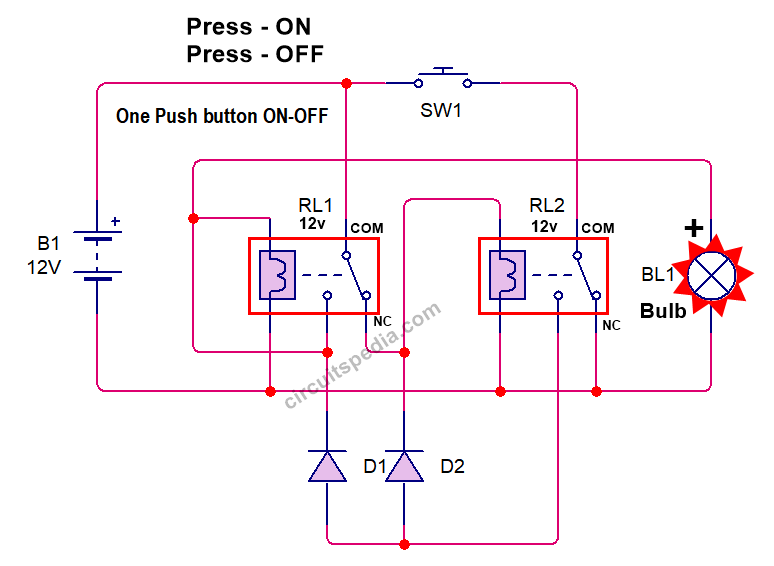 one push button start stop relay