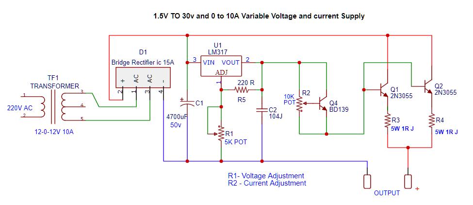 voltage and current regulator 10A circuit diagram