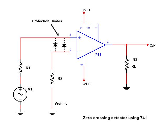 zero cross detector circuit diagram using opamp 741